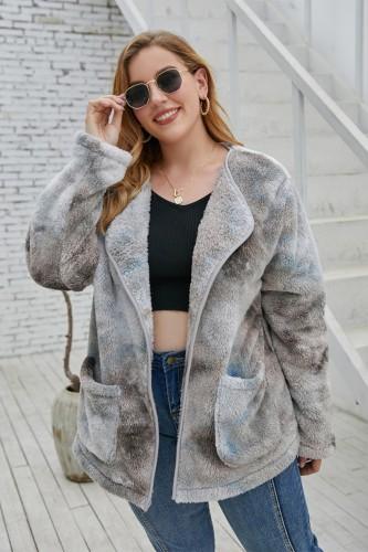Abrigo de lana polar con efecto tie dye de invierno de talla grande con bolsillos