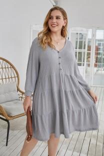 Plus Size Autumn Solid Color V-Neck A-Line Casual Dress