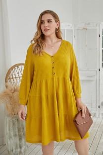 Plus-size herfst effen kleur V-hals A-lijn casual jurk