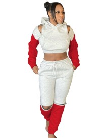 Contrast Color Long Sleeve Zipped Hoodie Tracksuit