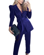 Autumn Solid Color Matching Blazer and Pants Suit