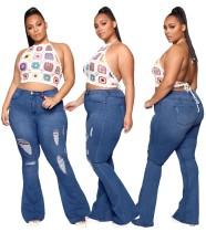 Jeans acampanados rasgados azul oscuro de cintura alta de talla grande