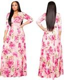 Robe longue portefeuille à imprimé floral d'automne