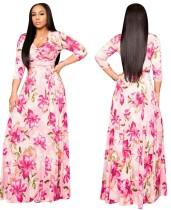 Vestido largo largo envuelto con estampado floral de otoño