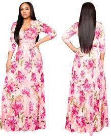 Sonbahar Çiçek Baskı Sarılı Uzun Maxi Elbise