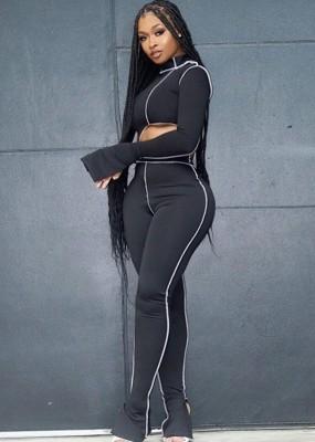 Conjunto de calça e blusa irregular outono preto combinando