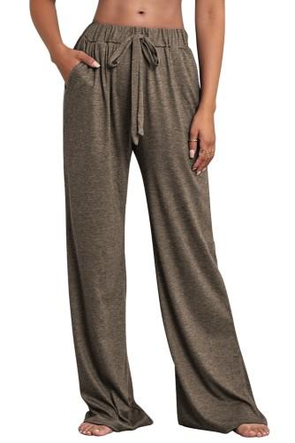 Calças de pijama soltas com cordão casual de outono