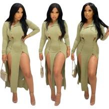 Vestido de festa longo sexy com fenda lateral verde outono