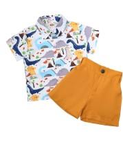 Kids Boy Sommer Animal Animal Print Shirt und Plain Shorts Set