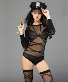 Seksi Siyah Uzun Kollu Bodysuit Lingerie See Through