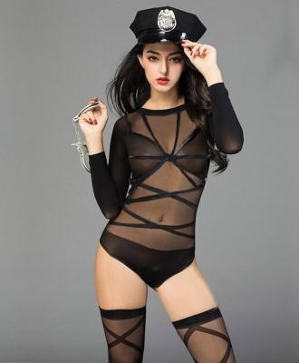 Sexy manica lunga nera vedere attraverso la biancheria della tuta