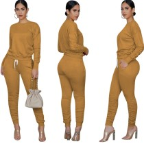 Autumn Casual Matching Solid Color Shirt and Stack Pants Set