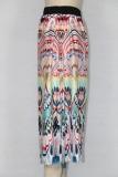 Jupe longue longue rétro à imprimé élégant d'automne