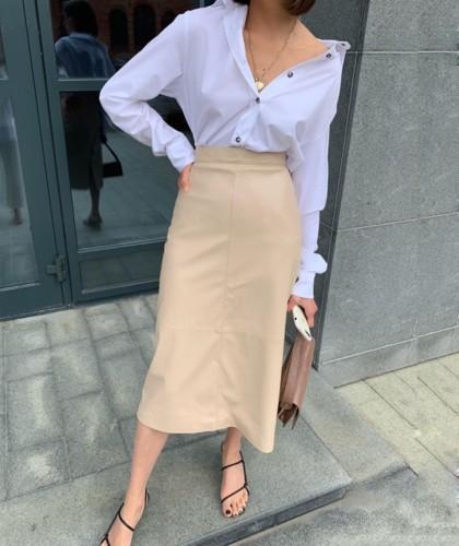 Elegante saia longa de couro elegante com cintura alta e cinto