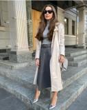 Élégante jupe longue en cuir à taille haute avec ceinture