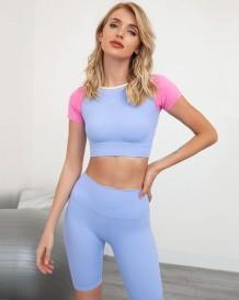 Summer Contrast Yoga Crop Top and Shorts Set