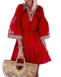 Robe Boho courte à manches larges et imprimé d'automne avec ceinture