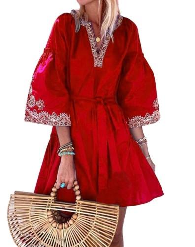Sonbahar Baskı Kemerli Geniş Kollu Kısa Boho Elbise