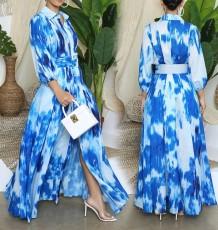 Vestido largo con hendidura azul tie dye otoño con cinturón