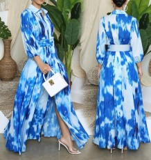 Autumn Tie Dye Blue Slit Long Dress with Belt