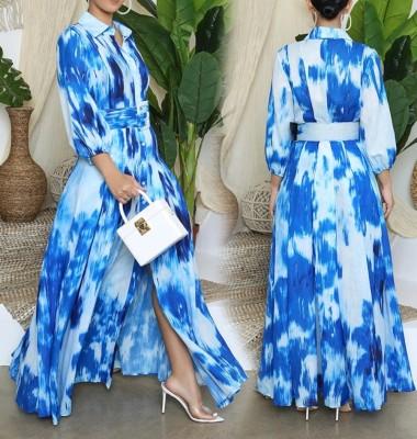 Robe Longue Fendue Bleue Automne Tie Dye avec Ceinture