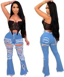 Calças de ganga rasgadas de cintura alta azul