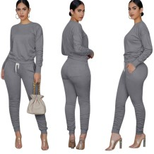 Herbst Casual Matching Solid Color Shirt und Stack Pants Set
