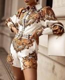 Herfst elegante print retro rompertjes met riem