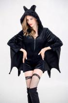 Ensemble de costume noir pour femme Halloween Bat