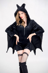Halloween Bat Women Black Costume Set