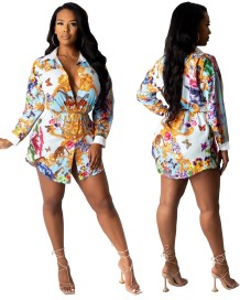 Vestido com blusa de outono com estampa africana