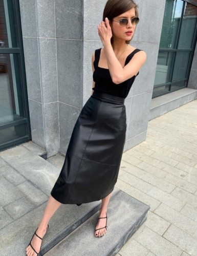 Stylish A-Line High Waist Elegant Leather Long Skirt with Belt