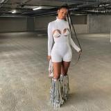 Herfst witte sexy uitgesneden bodycon-rompertjes met lange mouwen