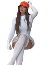Herbstweißes sexy Galter Mini Club Kleid mit Strümpfen