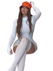 Autumn White Sexy Galter Mini Club Dress with Stockings