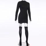 Herbst Schwarz Sexy Galter Mini Club Kleid mit Strümpfen