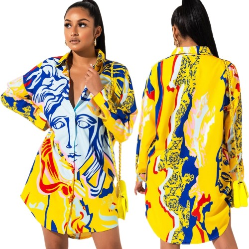 Afrika Baskı Sonbahar Uzun Kollu Bluz Elbise