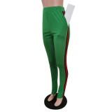 Conjunto de pantalón y top corto ajustado a rayas de otoño