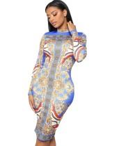 Afrika Baskı Sonbahar Uzun Kollu Midi Elbise