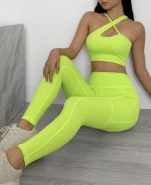 Conjunto de sujetador y leggings de yoga de múltiples vías de verano