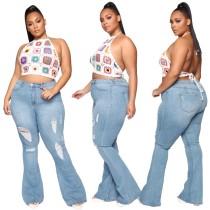 Plus Size High Waist Hellblau Ripped Flare Jeans