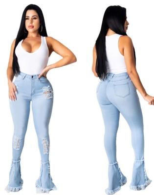 Jeans strappati blu a vita alta con fondo a campana