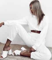 Conjunto de pantalones de chándal y top corto blanco casual de otoño