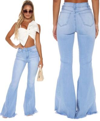 Jeans svasati a vita alta azzurri