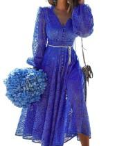 Herbst Elegant Blue Hollow Out V-Ausschnitt Langes Abendkleid