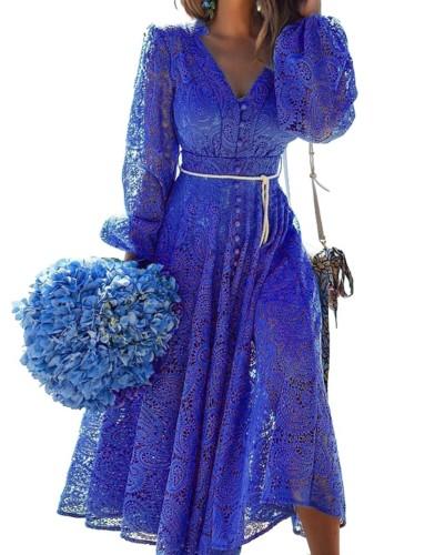 Autumn Elegant Blue Hollow Out V-Neck Long Formal Dress
