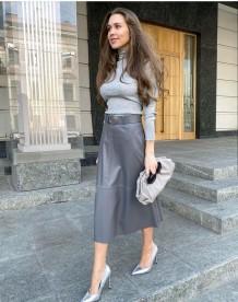 Stylish A-Line High Waist Elegant Leather Long Skirt with Belt
