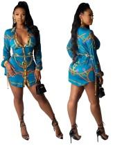 Africa Print Herbst Langarm Bluse Kleid