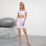 Ensemble short et top court de yoga Summer Tie Dye