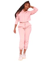 Autumn Solid Color Crop Top and Pants Hoodie Sweatsuit